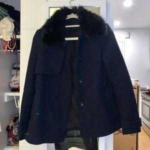 Zara | Blue Coat w/ Black Removable Furry Neck